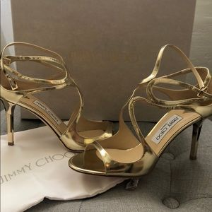 Jimmy Choo Ivette Gold mirrored sandals